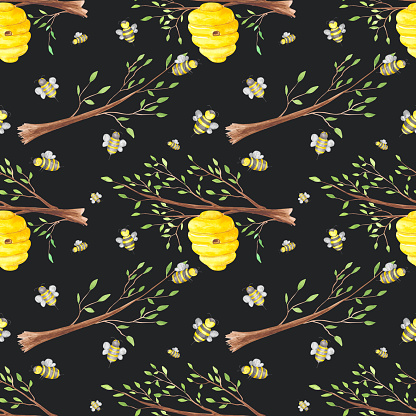 Honey bees and hive on a tree branch seamless pattern on a black background. Watercolor beehive and bee endless print. Hand-drawn honey bee house illustration in cartoon style. Colorful wallpaper.