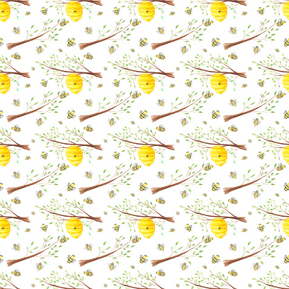 Honey bees and hive on a tree branch seamless pattern on a white background. Watercolor beehive and bee endless print. Hand-drawn honey bee house illustration in cartoon style. Colorful wallpaper.