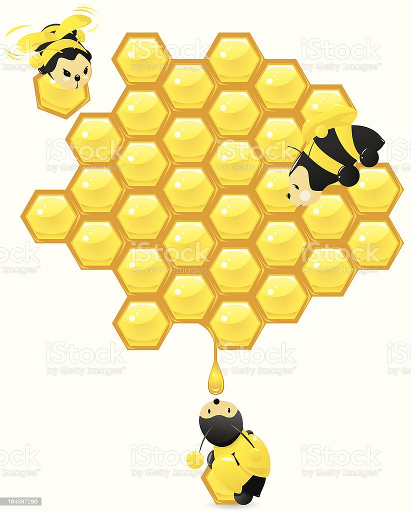 Honeycomb and cute working bees vector art illustration