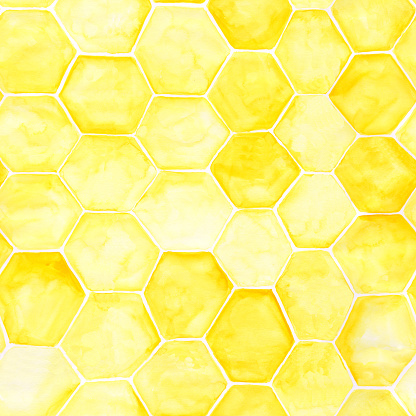 Honeycomb seamless pattern. Yellow watercolor hexagon endless illustration. Honey bee hive repeats print. Hand-drawn beekeeper backdrop. Cell wallpaper. Overlapping texture for your design.