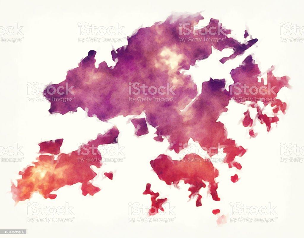 Karte China Hong Kong.Hong Kong Spezielle Administrative Aquarell Karte Von China Vor