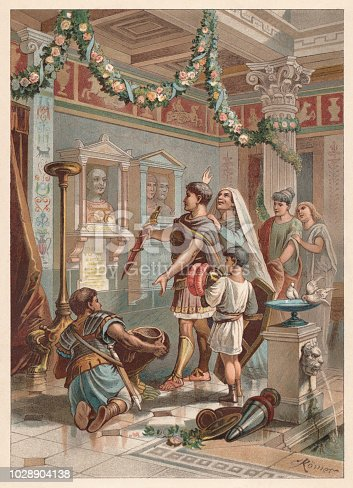 Honoring the ancestors of the family in the Roman Empire. Chromolithograph after a drawing by Carl Römer (German illustrator, 1842-?), published in 1888.