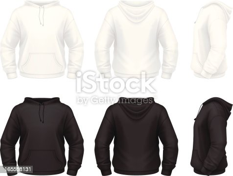 Vector illustration of classic hooded sweatshirt.