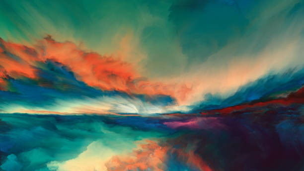 Horizon Paint Sunsets of Never series. Landscape of virtual paint. dreamlike stock illustrations