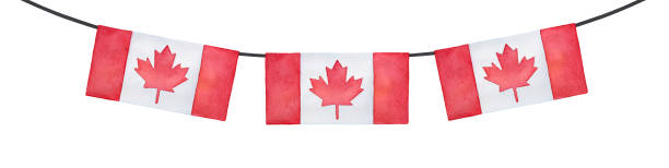 Horizontal bunting decoration with flag of Canada. Bright red colour, rectangular shape. Handdrawn watercolour drawing on white, cut out clip art element for design, frames, prints, patriotic decor. Hand drawn watercolor illustration. canada day illustrations stock illustrations
