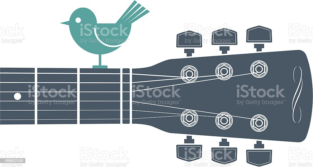 Horizontal guitar and bird vector art illustration