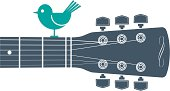 Horizontal guitar and bird