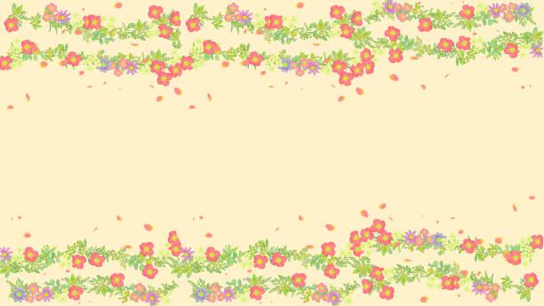 Horizontal line background material of flowers vector art illustration