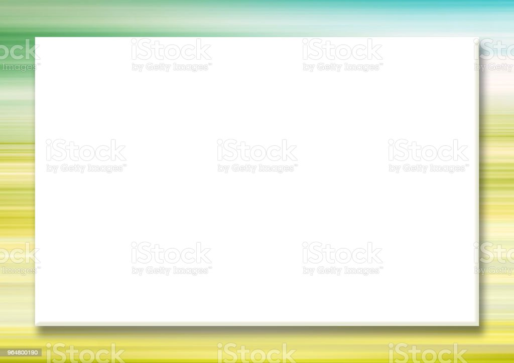 Horizontal mock up template with big white rectangular screen. Multicolored striped border, abstract yellow, green background. Summer frame for scrapbook, photo albums, greeting cards, postcards, posters, flyers, web pages, presentations, invitations royalty-free horizontal mock up template with big white rectangular screen multicolored striped border abstract yellow green background summer frame for scrapbook photo albums greeting cards postcards posters flyers web pages presentations invitations stock vector art & more images of abstract