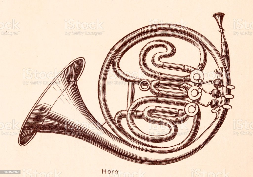 Horn Music Instruments 19th Century Illustration Stock