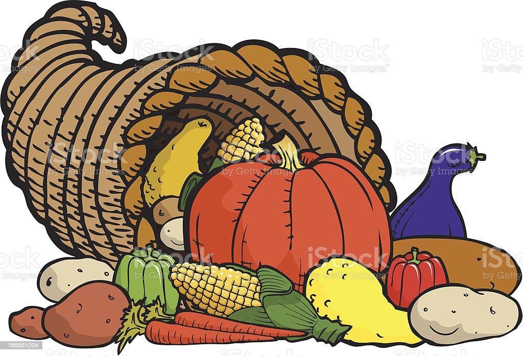 Horn of Plenty - Thanksgiving Symbol royalty-free horn of plenty thanksgiving symbol stock vector art & more images of abundance