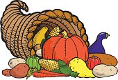 """""""Illustration of a Thanksgiving cornucopia full of harvest produce including pumpkin, squash, potatoes, corn, peppers, and other fruits and vegetables. Part of a series on food, see entire portfolio."""""""