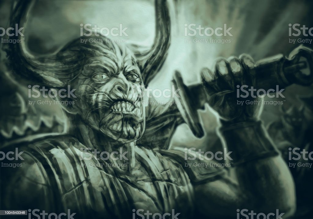 Horned Demon Knight With A Big Sword On His Shoulder Stock Vector