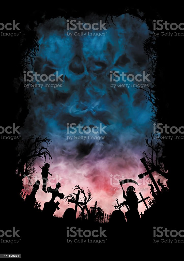 Horror background with skies like a skulls and a cemetery vector art illustration