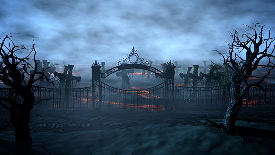 Horror night cemetery, grave. Moonlight . halloween concept. 3d rendering