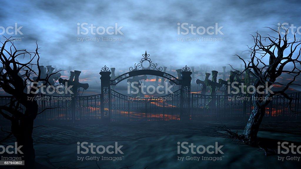Horror night cemetery, grave. Moonlight . halloween concept. 3d rendering vector art illustration