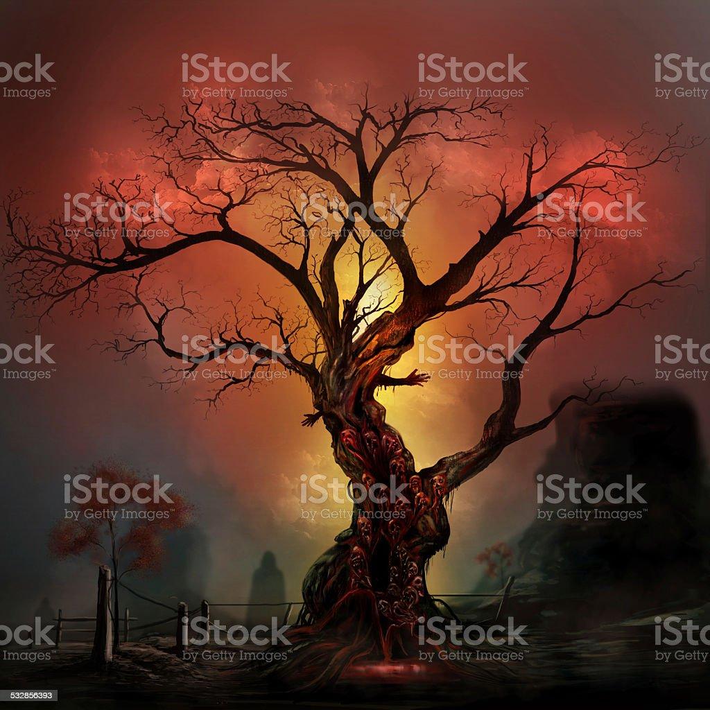 Horror tree vector art illustration