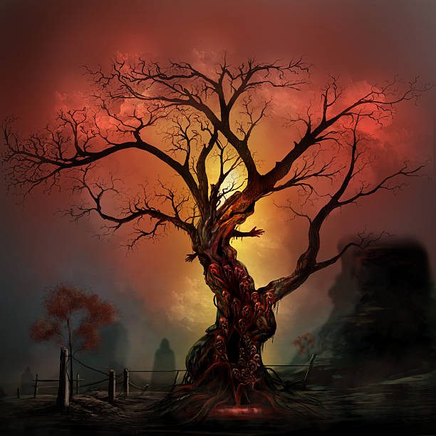 Horror tree Scary horror tree with zombie and monster demon faces. scary halloween scene silhouettes stock illustrations