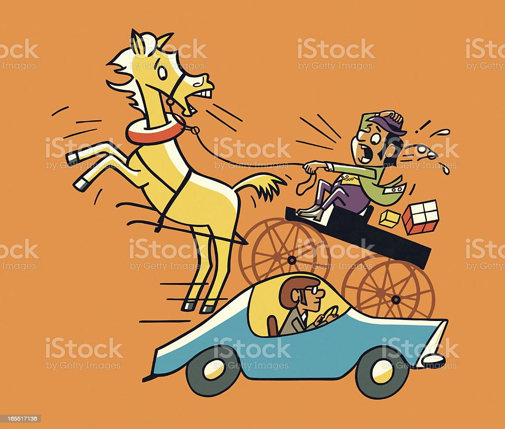 Horse and Carriage Next to a Car royalty-free stock vector art