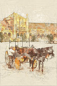 Horse carriage in Plaza de España - Mixed digital technique