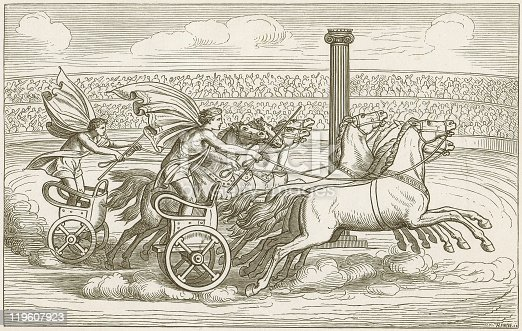 Horse Cart racing in the ancient Greece. Woodcut engraving after a Vase painting in the Vatican Museums in Rome, published in1883.