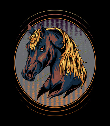 horse head illustration design for t shirt , apparel, poster, decoration print, accessories, phone case and other