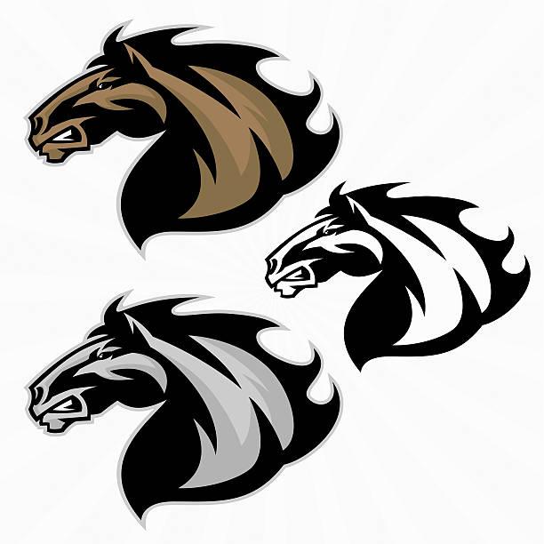 pferd-maskottchen - mustangs stock-grafiken, -clipart, -cartoons und -symbole