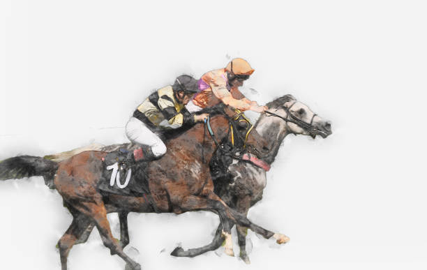 스포츠를 타고 경마 자키 경쟁 목마를 실행 하는 수채화 그림 그림 - horse racing stock illustrations