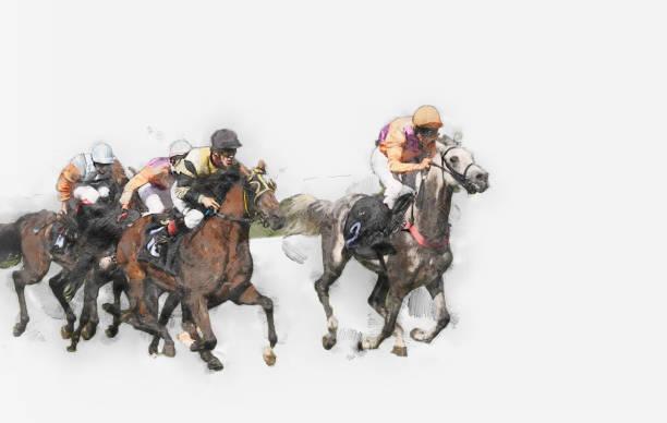 bildbanksillustrationer, clip art samt tecknat material och ikoner med horse race ridning sport jockeys tävlingshästar kör akvarell målning illustration - häst tävling