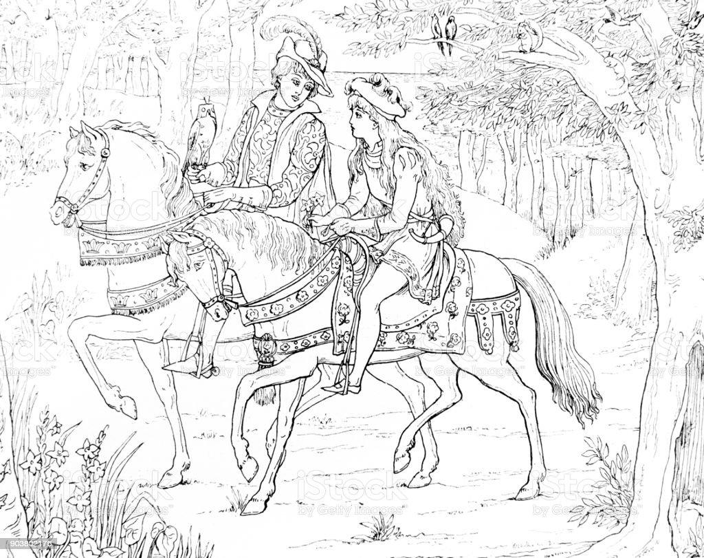 Cena de equitação do cavalo da pequena sereia de Andersen - ilustração de arte em vetor