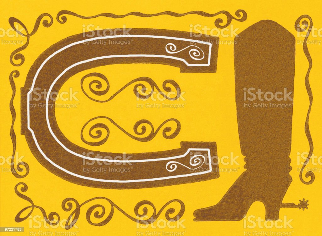 Horse shoe and cowboy boot royalty-free stock vector art