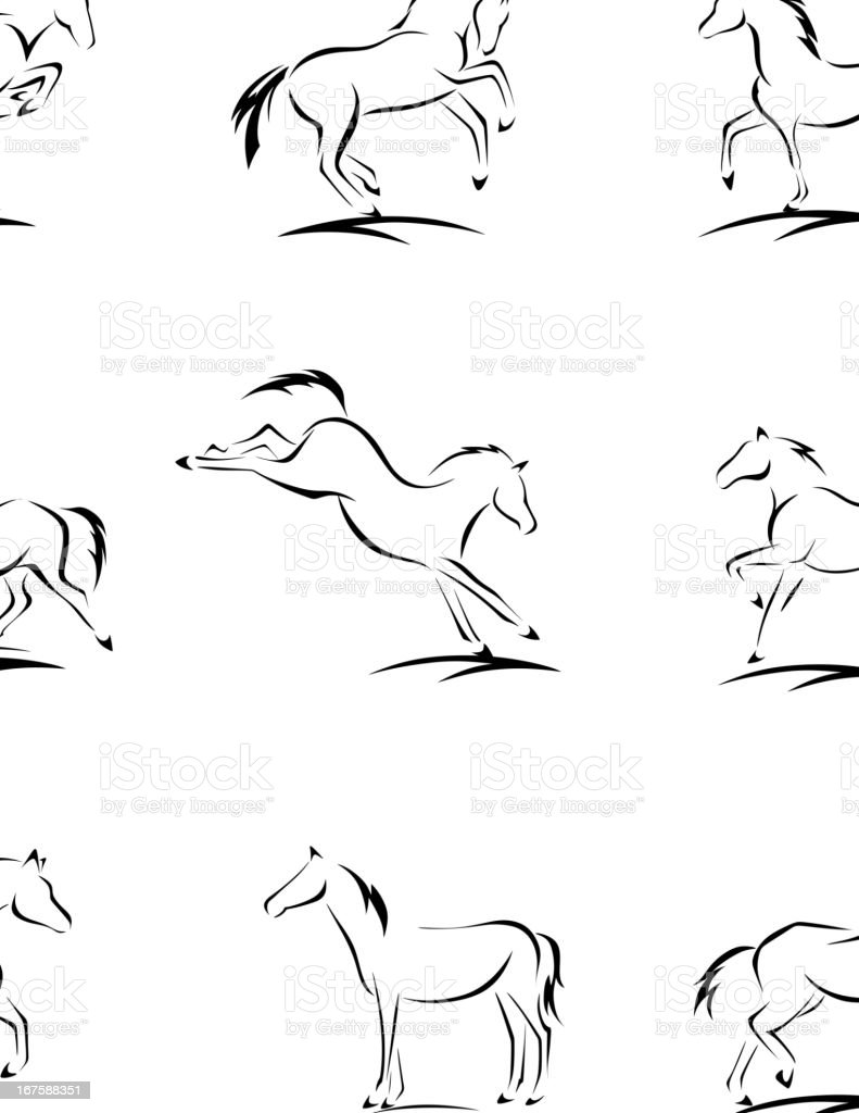 Horse Sketches vector art illustration