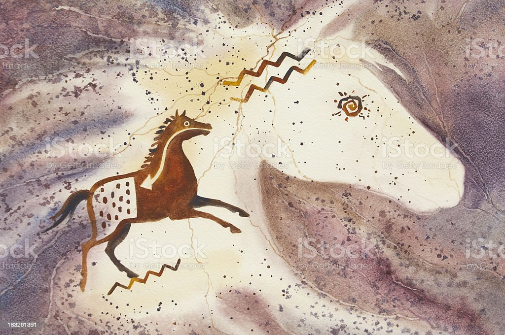 Horse Spirit Cave Art vector art illustration