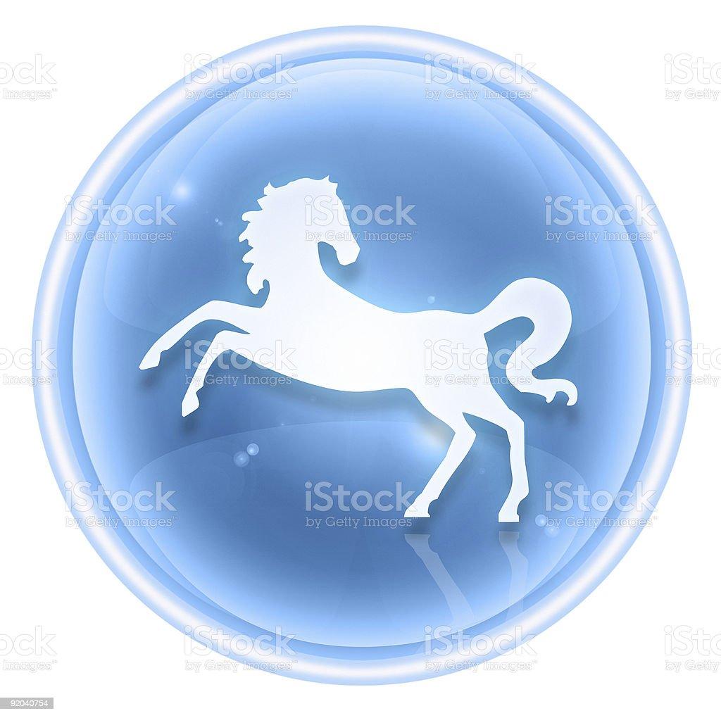 Horse Zodiac icon blue ice, isolated on white background. royalty-free stock vector art