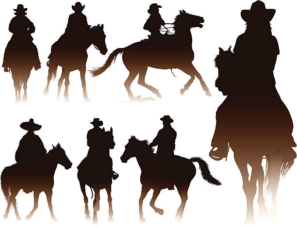 horseback riding - rodeo stock illustrations, clip art, cartoons, & icons