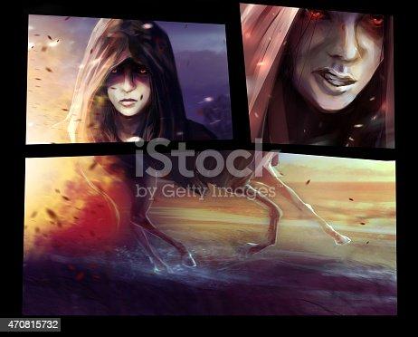 istock Horseman woman comic sliders. 470815732