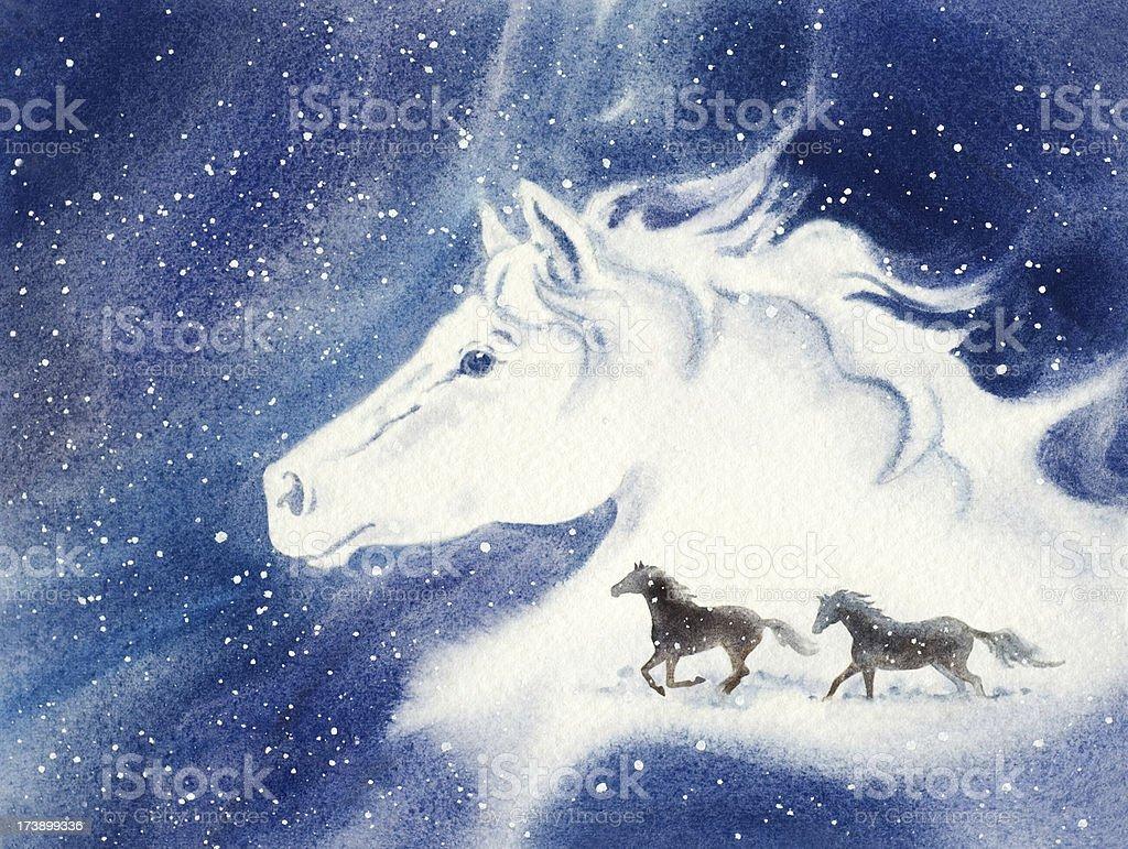 Horses Dashing Through The Snow vector art illustration