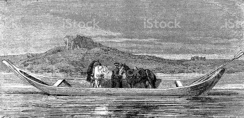 Horses on river boat royalty-free stock vector art