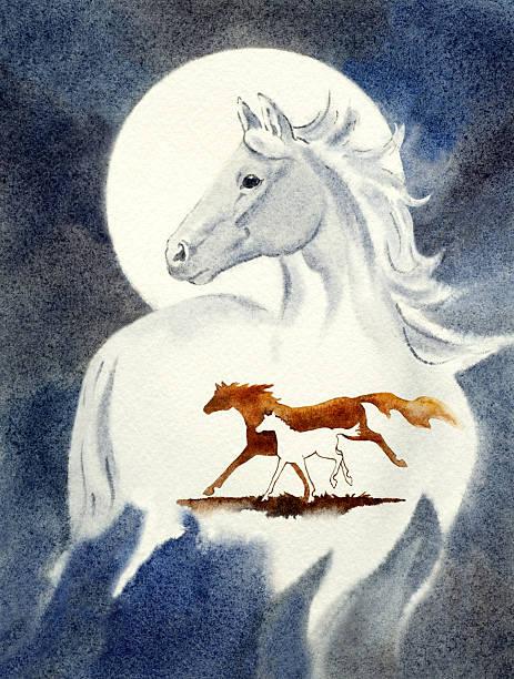 Horses Race By Moon Light vector art illustration