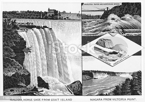 Various viewpoints of the Horseshoe Falls and American Falls at Niagara Falls, Ontario, Canada. Vintage etching circa late 19th century.