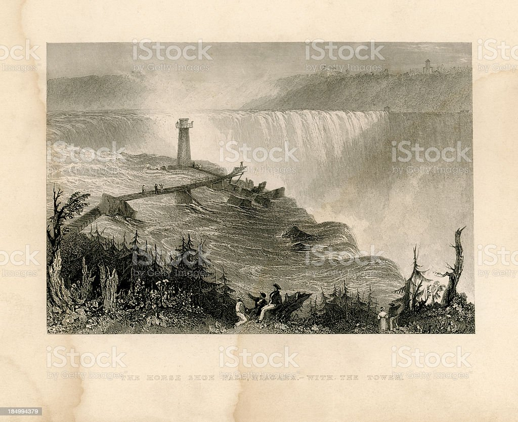 Horseshoe Falls, Niagara, with the tower (Geo Virtue 1839) vector art illustration