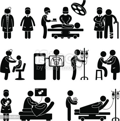 istock Hospital Doctor, Nurse and Patient Pictogram 164464854