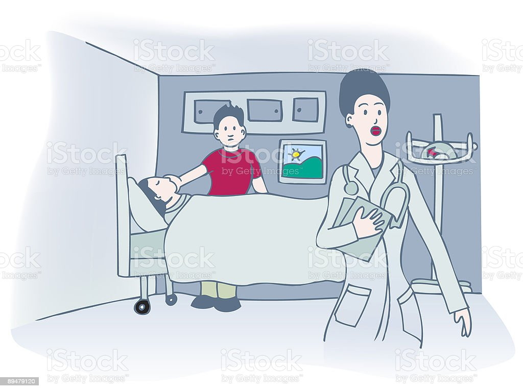 Hospital patient, visitor and doctor royalty-free stock vector art