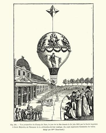 Hot air balloon, Champ de Mars, Paris, 1810