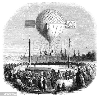 Hot Air Balloon experimental flight from Dijon to Magni-Lez-Auxone on the 25th of april 1784. The balloon was monted by the Abbey Berteau and Mr. Morvaux. Original edition from my own archives Source : Magasin Pittoresque 1853