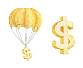 Hot air balloon with Golden Dollar. Watercolor illustration.