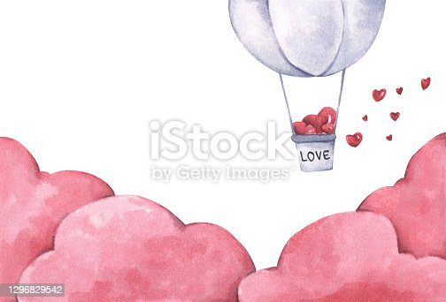 istock Hot air balloon with heart float on the sky. Watercolor illustration. 1296829542