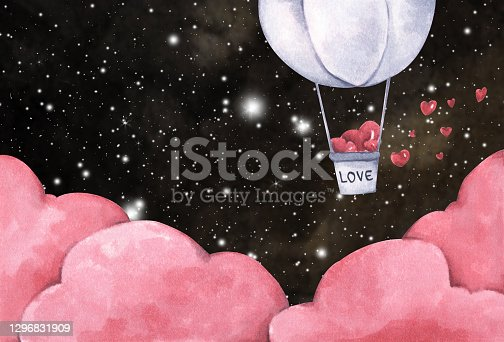 istock Hot air balloon with heart flying in the night sky. Watercolor illustration. 1296831909