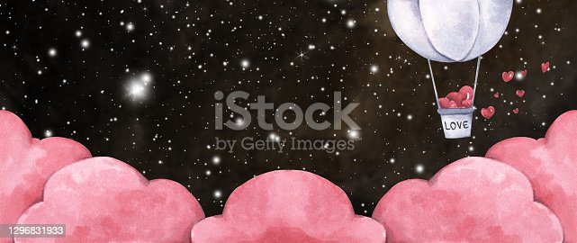istock Hot air balloon with heart flying in the night sky. Watercolor illustration. 1296831933