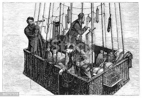 Steel engraving aviators aeronauts Gaston Tissandier, Joseph Croce-Spinelli and Théodore Sivel in the balloon